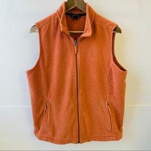 Land's End women's orange vest zipper fleece L